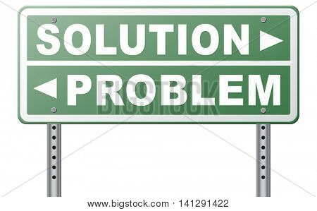 problem solution searching solutions by solving problems road sign 3D illustration