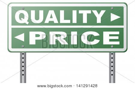 price quality balance best product value and top or premium qualities cheap road promotion sign arrow 3D illustration