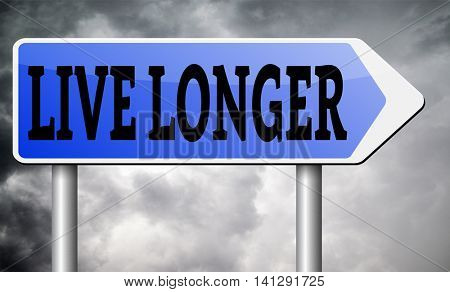 live longer sign or icon. Living healthy and stress free helps longevity and a life in good health 3D illustration