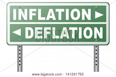 inflation deflation bank crisis or financial and economic recession or stock market crash or rise sign 3D illustration