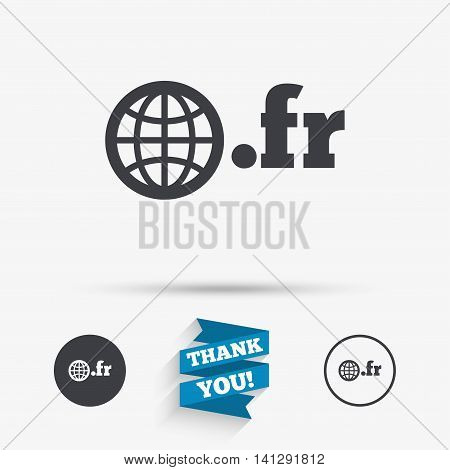 Domain FR sign icon. Top-level internet domain symbol with globe. Flat icons. Buttons with icons. Thank you ribbon. Vector