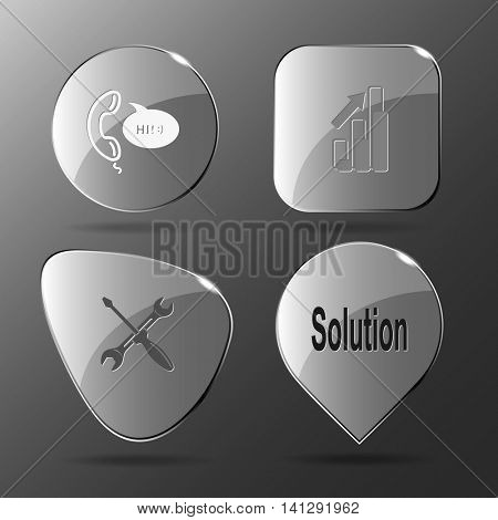 4 images: support, diagram, screwdriver and spanner, solution. Business set. Glass buttons. Vector illustration icon.