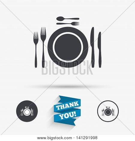 Plate dish with forks and knifes. Dessert trident fork with teaspoon. Eat sign icon. Cutlery etiquette rules symbol. Flat icons. Buttons with icons. Thank you ribbon. Vector