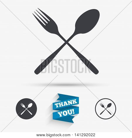 Eat sign icon. Cutlery symbol. Fork and spoon crosswise. Flat icons. Buttons with icons. Thank you ribbon. Vector