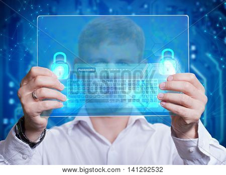Businessman Touching A Dashboard With Key Performance Indicator Displayed With Hologram On A Virtual