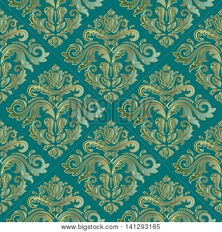 Green damask vintage seamless pattern background with elegant oriental volumetric ornaments and silver outline.Luxury element for design in Eastern style. 3d decor with shadow and highlights