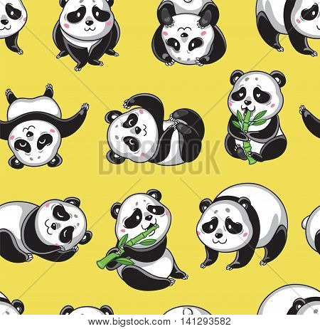 Seamless cartoon wallpaper with cute pandas isolated on yellow background