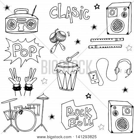 Music set doodles vector illustration collection stock