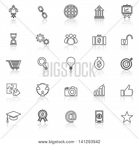 Start up line icons with reflect on white background, stock vector