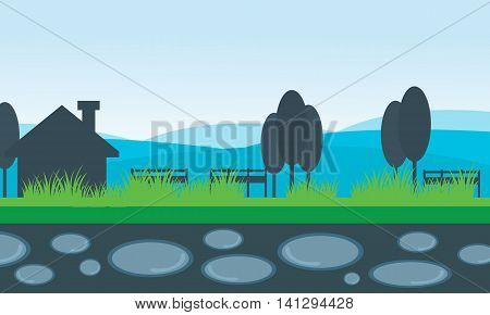 Vector of scenery house and mountain backgrounds collection stock