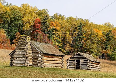 Reproductions of cabins used by Revolutionary War soldiers during the winter of 1777-78 under the command of George Washington. Located in Valley Forge National Historic Park Pennsylvania USA.