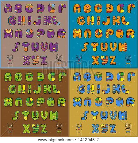 Vintage artistic alphabets. Blue orange green and purple unusual font. Cartoon hands looking at each other. Vector illustration