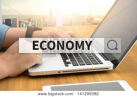 ECONOMY SEARCH WEBSITE INTERNET SEARCHING man hand work hard