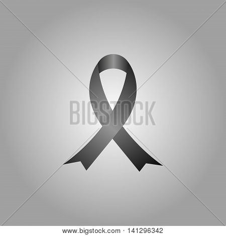 Black AIDS awareness ribbon. Breast cancer awareness ribbon. Mourning and melanoma support symbol.