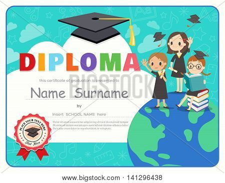 Primary School Kids Graduation Diploma certificate background design template