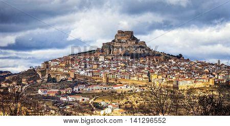 Impressive view of medieval village Morella Castellon, Valencian