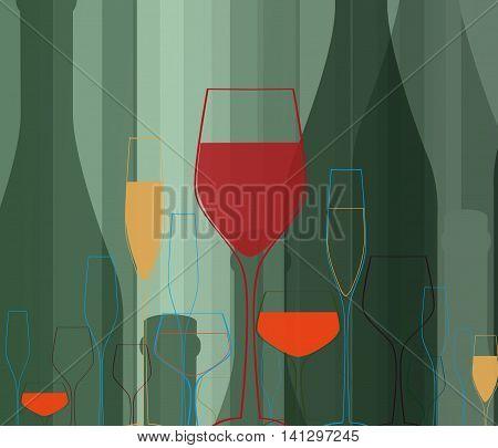 Cocktail Party Vector.Bar Menu Ilustration.Suitable for Poster.Party Design Menu.Invitation Card with Glasses.Alcoholic Bottles Background.Wine List Design.