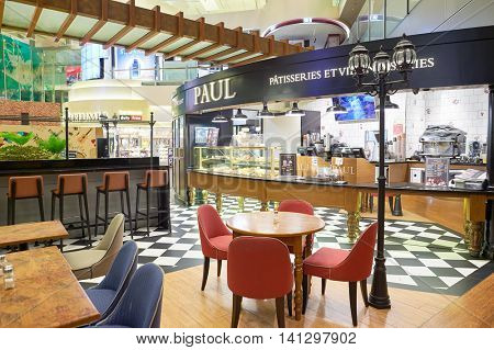 SINGAPORE - CIRCA NOVEMBER, 2015: Paul in Singapore Changi Airport. Paul is a French chain of bakery/cafe restaurants.