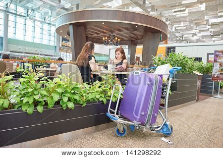 SINGAPORE - CIRCA NOVEMBER, 2015: inside of Singapore Changi Airport. Changi Airport  is the primary civilian airport for Singapore and one of the largest transportation hubs in Southeast Asia.