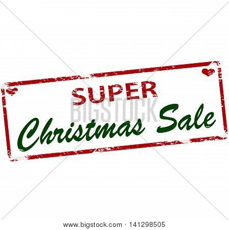 Rubber stamp with text super Christmas sale inside vector illustration