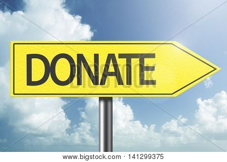 Donate yellow sign