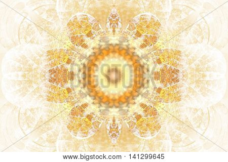 Abstract flower mandala on white background. Intricate symmetrical pattern in yellow and orange colors. Fractal design for posters postcards wallpapers or t-shirts. Digital art. 3D rendering.