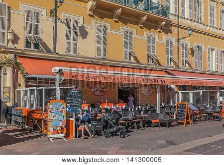 Street Cafes In A Mediterranean House In Nice France