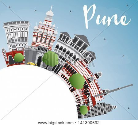Pune Skyline with Color Buildings, Blue Sky and Copy Space. Vector Illustration. Business Travel and Tourism Concept with Historic Buildings.