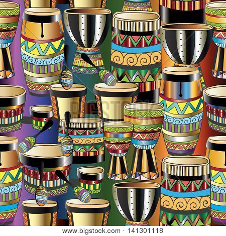 Vector seamless pattern with ethnic folklore African musical instruments. African ornate decor can be used for textile, web page background. Endless texture.