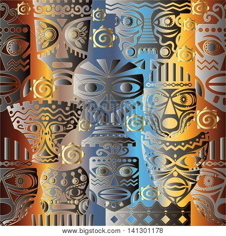 Vector seamless pattern with african masks on the colorful background. Stylish and modern african decor can be used for textile, prints,web page background.