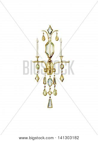 Bronze sconce with colored crystal pendants. Watercolor illustration