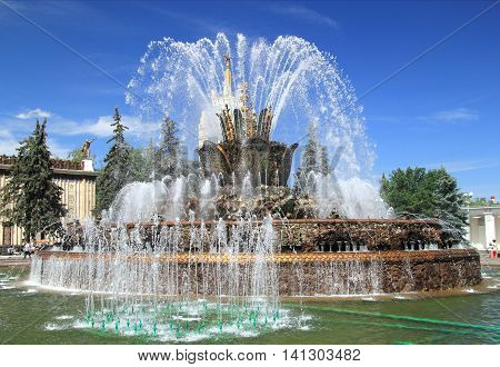 Fountain stone flower in a Moscow landmark, named exhibition VDNH. Russia