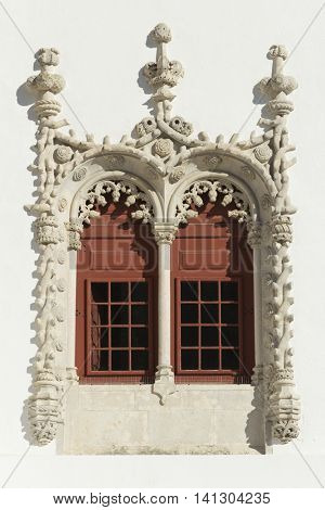 A Manueline window in the National Palace of Sintra, Portugal.