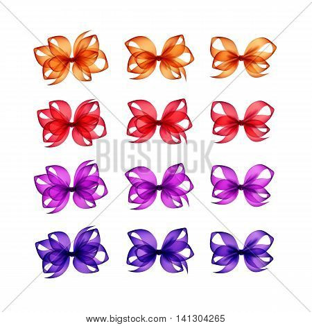 Vector Set of Colored Bright Orange Red Scarlet Purple Violet Lilac Gift Bows of Different Shapes Close up Isolated on White Background