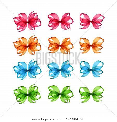 Vector Set of Colored Bright Orange Pink Light Blue Green Gift Bows of Different Shapes Close up Isolated on White Background