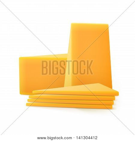Vector Triangular Sliced Pieces of Cheddar Cheese Close up Isolated on White Background