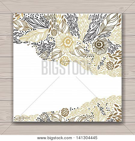 Greeting card set with abstract background with contour drawing of flowers . Place for text. Easy to edit