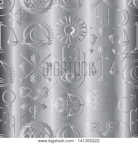 Vector light seamless pattern background with magic alchemy symbols and signs.Elegant luxury texture for backgrounds and page fill. 3D elements with shadows and highlights. Paper cut.