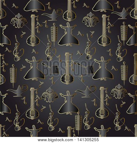 Stylish vector seamless pattern background with turkish traditional symbols.Hookah, coffee, turkish dance, musical instrument, kebab,ornament.
