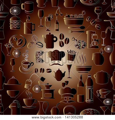 Elegance modern vector seamless pattern background with volumetric cafe restaurant cook symbols, signs and icons. Stylish luxury 3d elements with shadows and highlights. Endless texture.