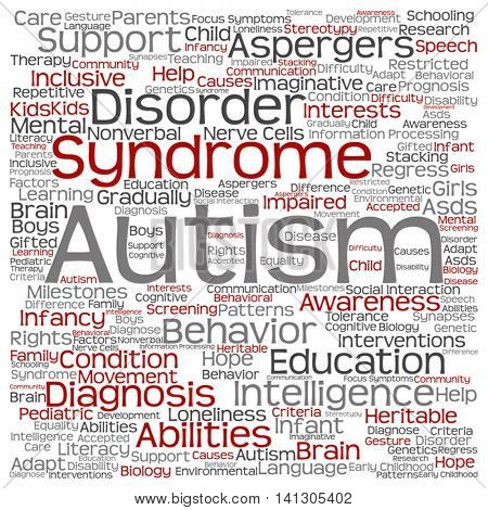 Vector concept conceptual childhood autism syndrome symptoms or disorder abstract square word cloud isolated on background
