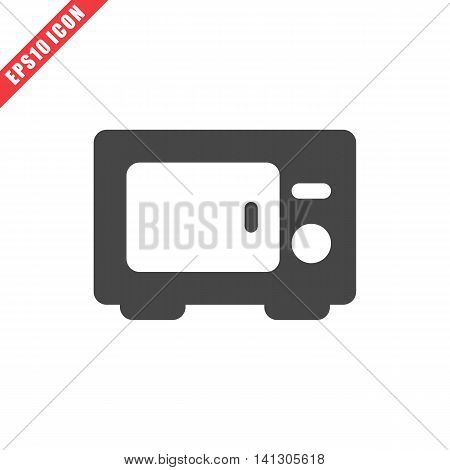 Vector illustration of electric oven icon on white background. Simple black kitchenware image