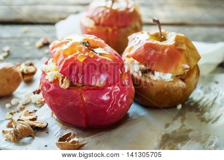 Baked Apples Stuffed Cottage Cheese Walnuts Honey