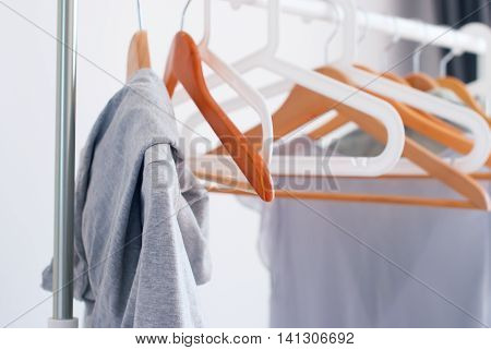 Wooden Plastic Hangers Pastel Grey Female Clothes