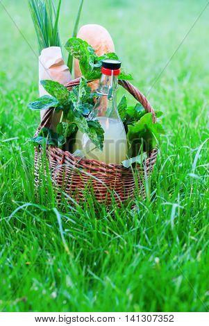 Basket Drink Baguette Onions Melissa Copy Space