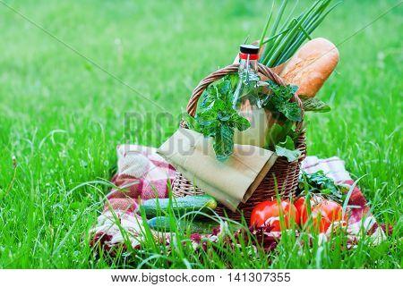 Picnic Bottle Baguette Greens Vegetables Raw Food