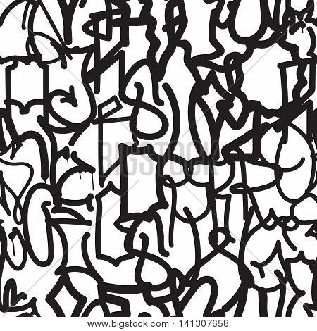 Vector tags seamless pattern in black, white colors. Fashion graffiti hand drawing texture, street art, abstract. For t-shirt, textile, wrapping paper