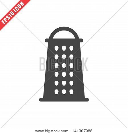 Vector illustration of grater icon on white background. Simple black kitchenware image