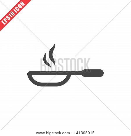 Vector illustration of pan icon on white background. Simple black kitchenware image