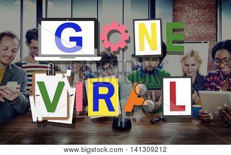 Gone Viral Famous Popular Media Concept
